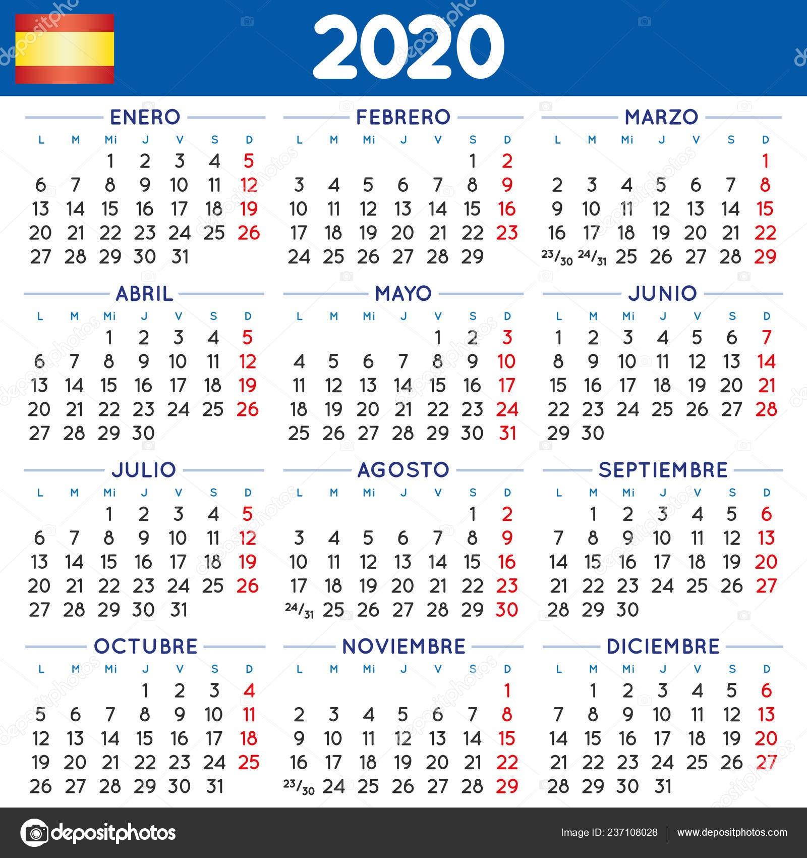 depositphotos stock illustration 2020 elegant squared calendar spanish