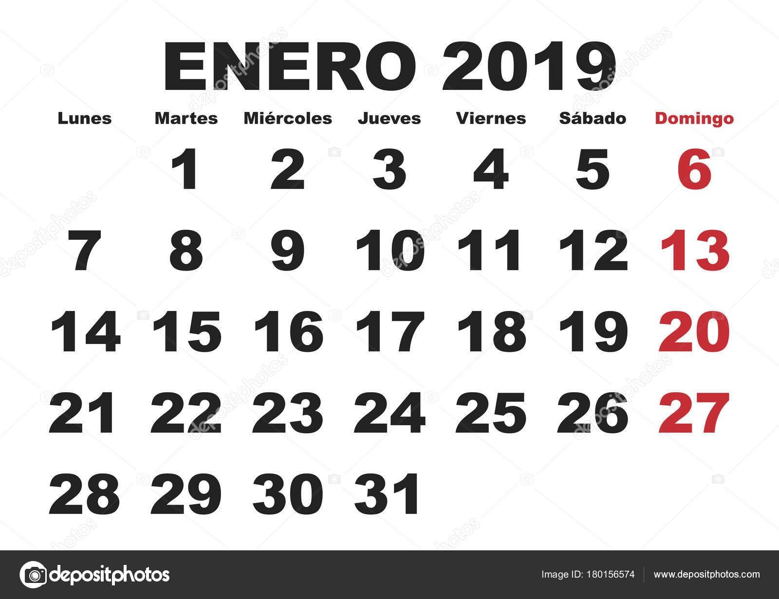 depositphotos stock illustration enero 2019 wall calendar spanish