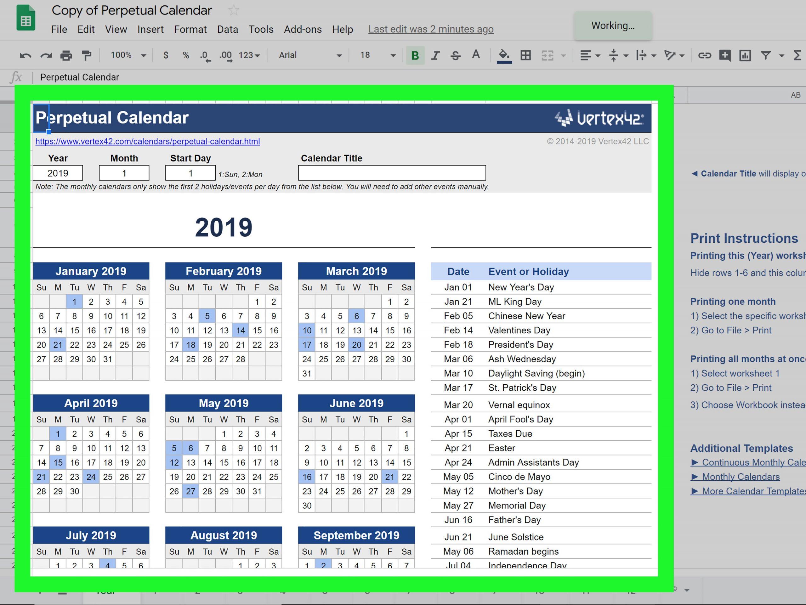 Create a Calendar in Google Docs Step 29