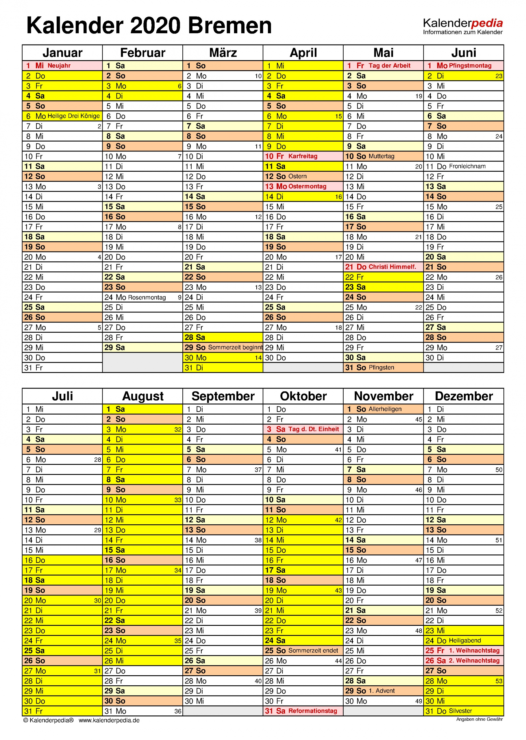 kalender 2020 bremen hochformat