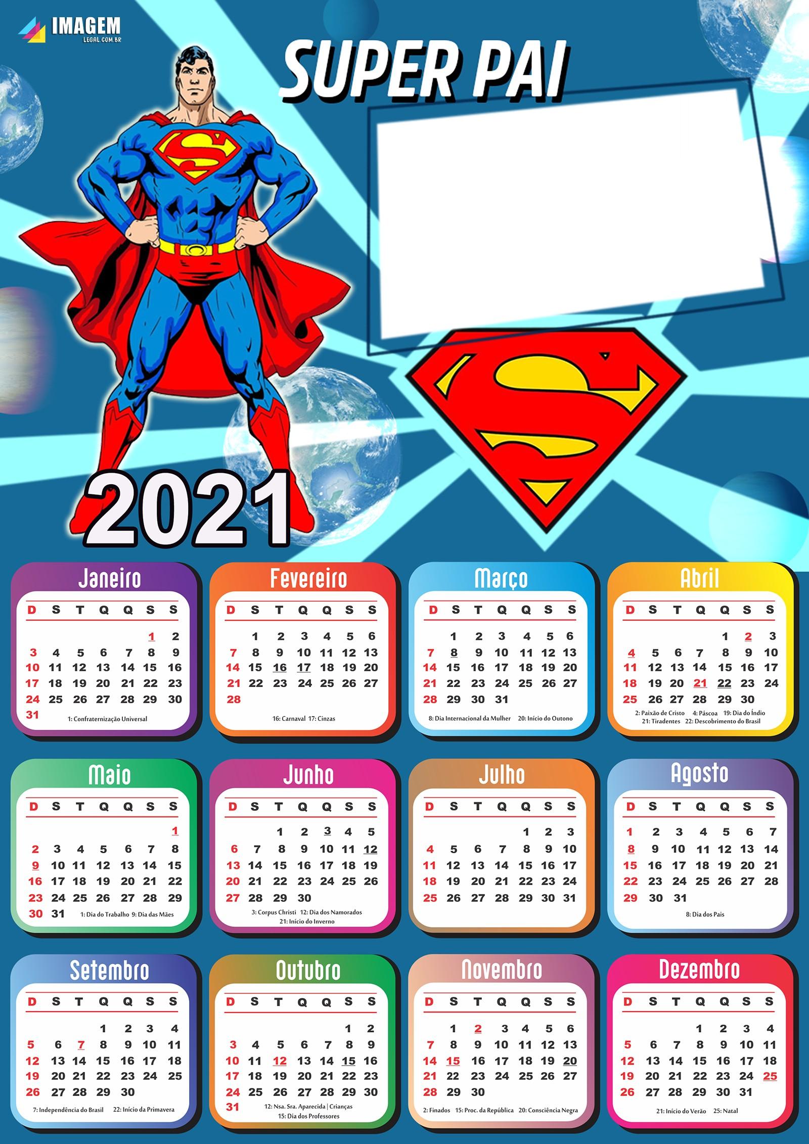 Calendario 2021 Dia dos Pais Super Man Moldura PNG