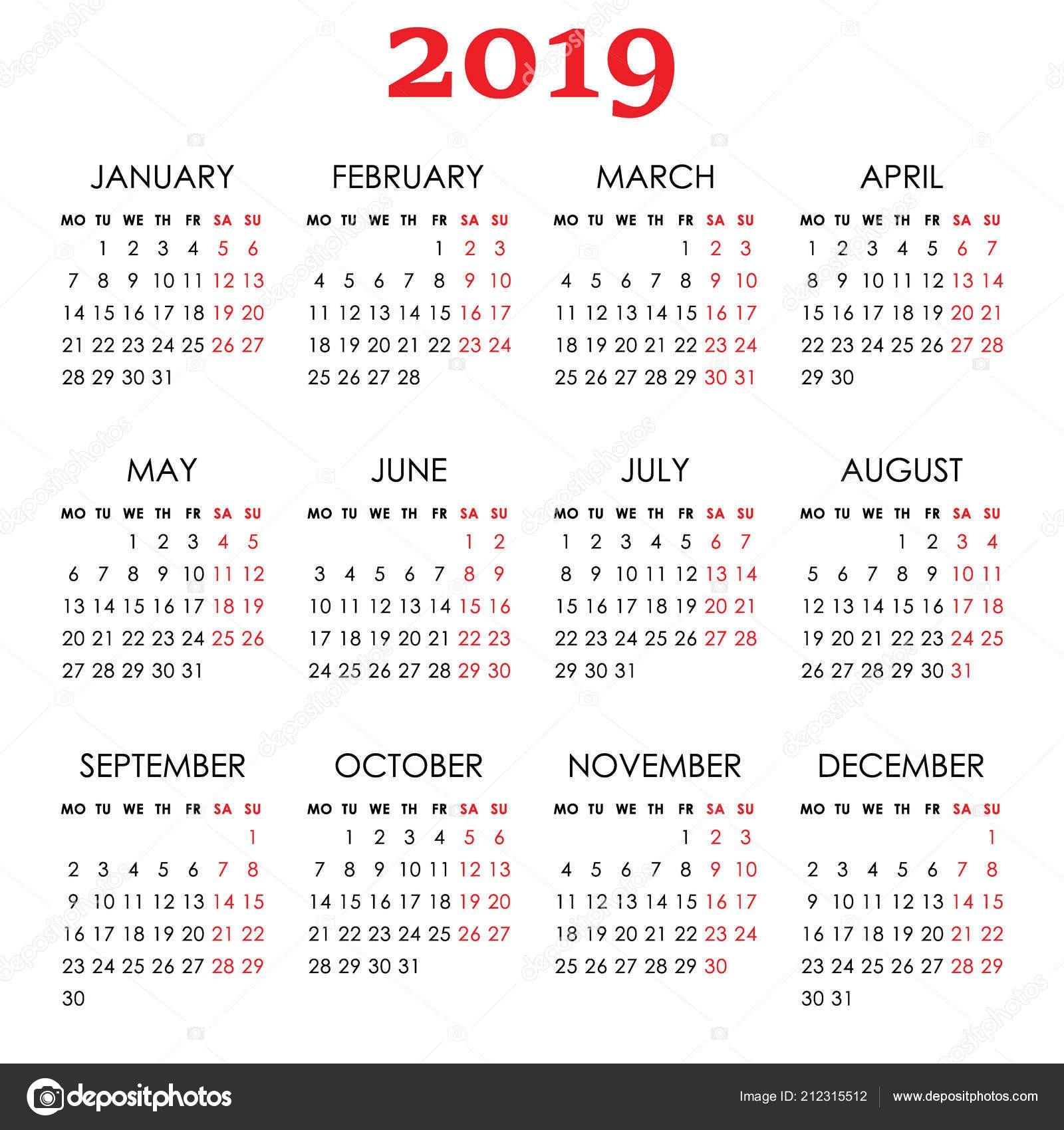 depositphotos stock illustration simple calendar for 2019 year