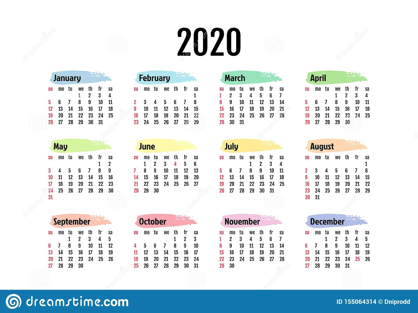 calendar isolated white background sunday to monday business template vector illustration calendar isolated