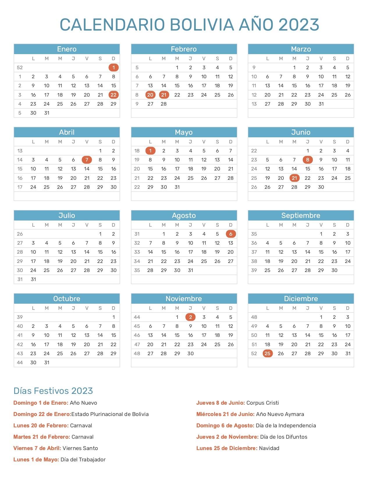 Calendario Bolivia 2023