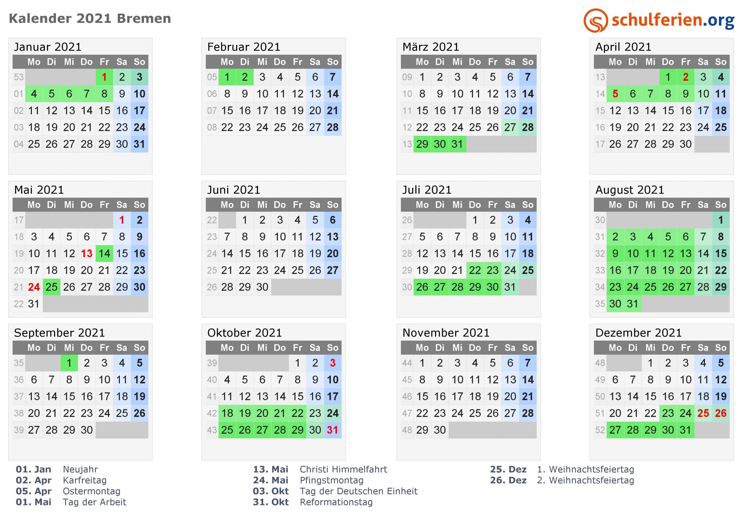 kalender 2021 bremen quer