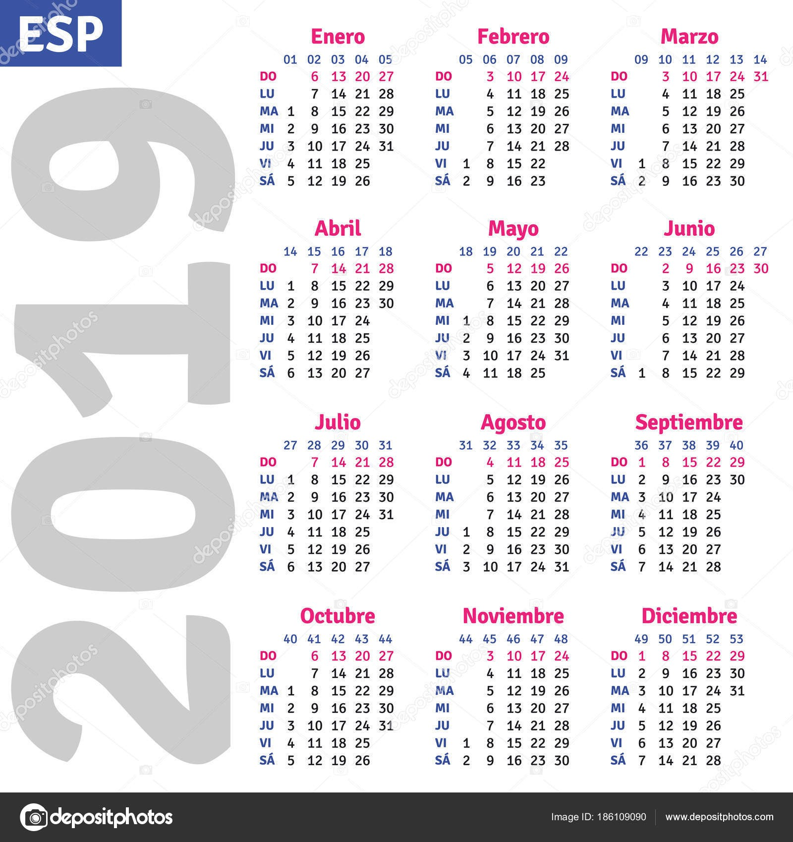 stock illustration spanish calendar 2019