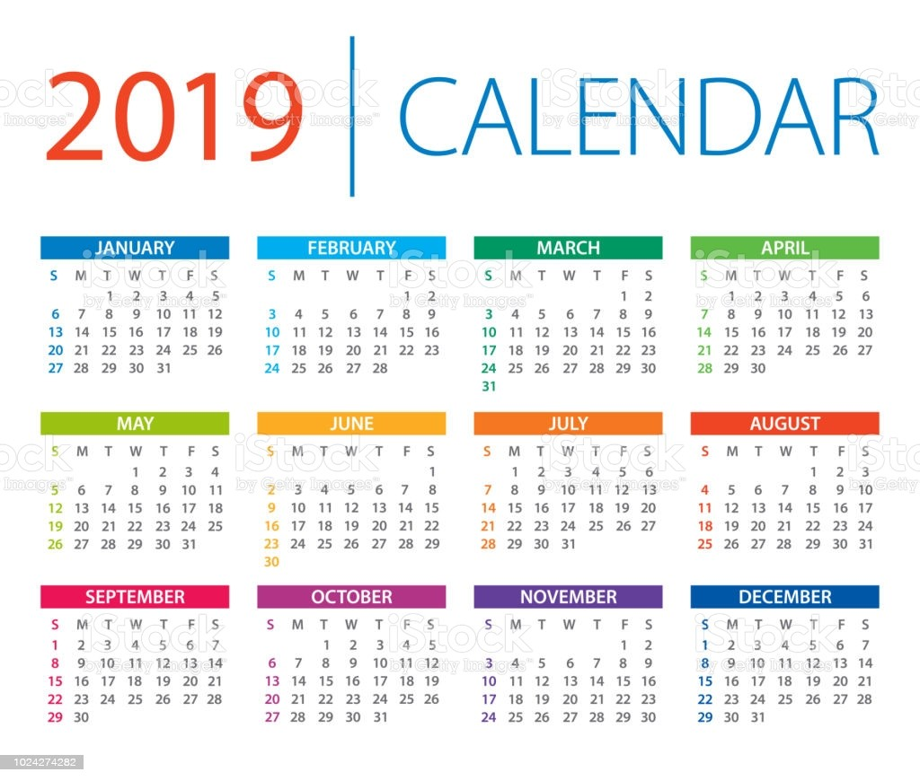 calendar 2019 vector illustration days start from sunday gm