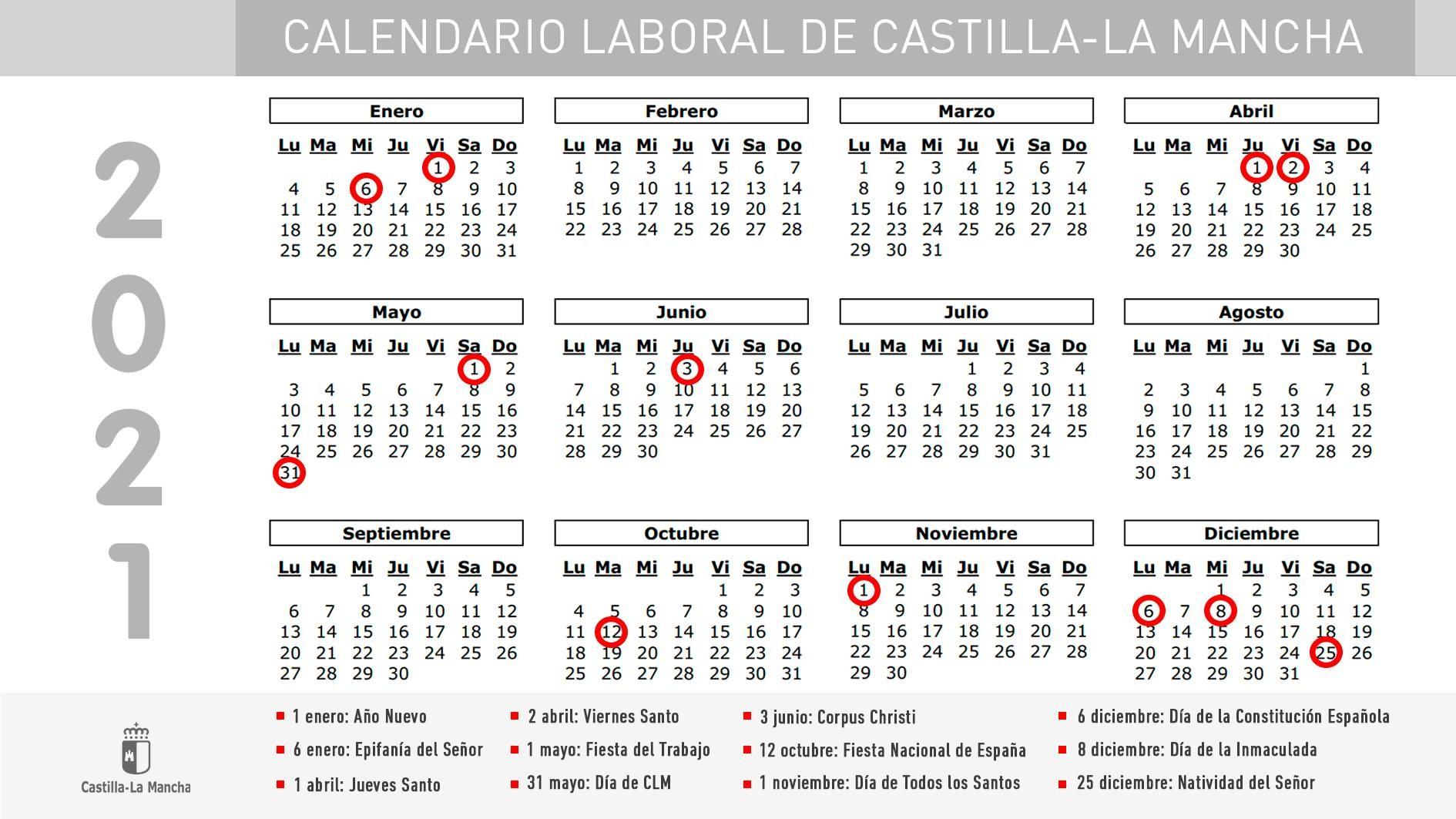 el gobierno regional aprueba el calendario laboral de 2021