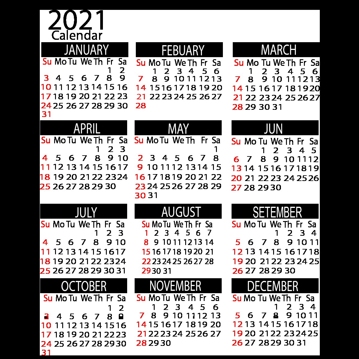 2021 yearly calendar printable