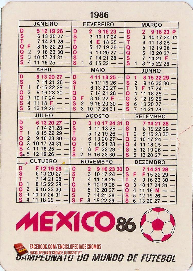 Calendario 1986 Más Actual Enciclopédia De Cromos México 86 Calendários De Bolso