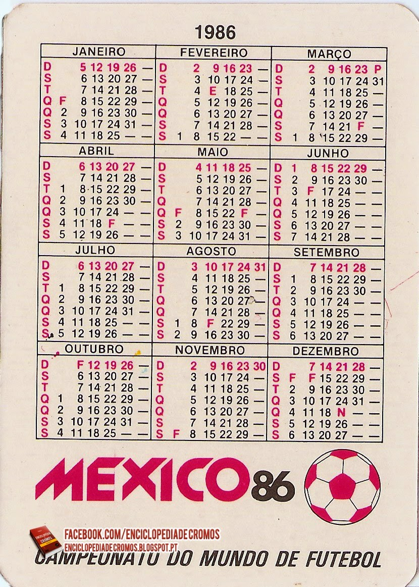 mexico 86 calendarios de bolso do