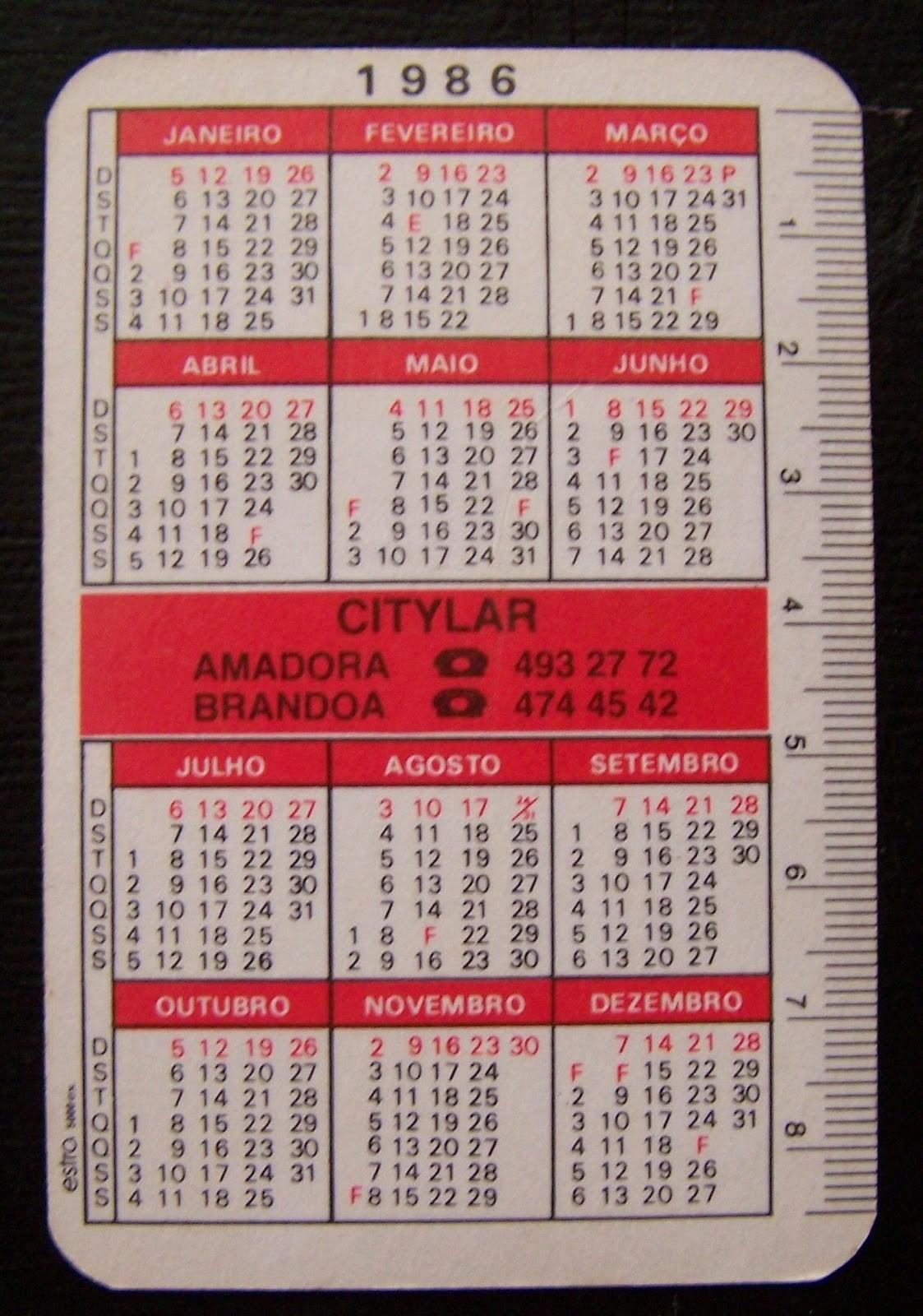 calendario 1986