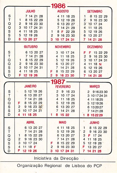 pcp dorl calendarios serie hotel vitoria 1986