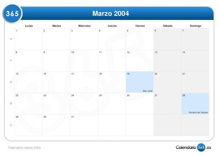 Calendario 2004 Más Recientemente Liberado Calendario Marzo 2004