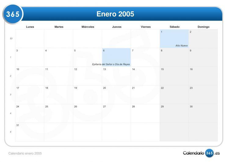 Calendario 2005 Más Arriba-a-fecha Calendario Enero 2005