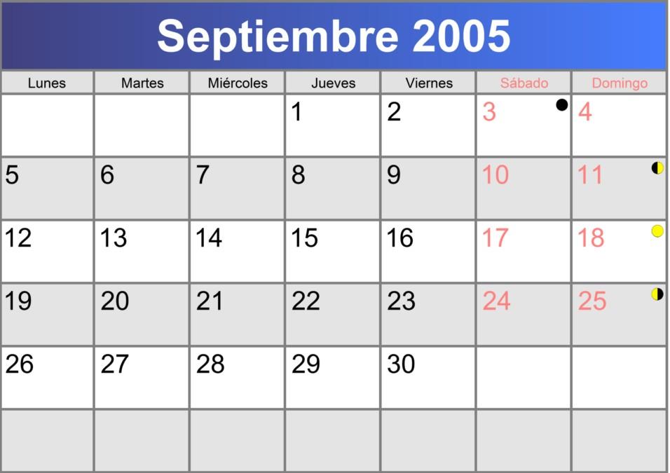 calendario septiembre 2005