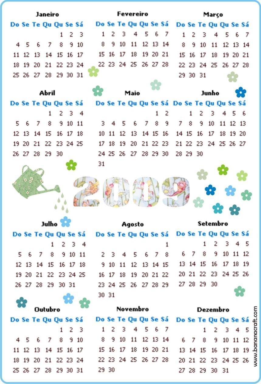 para imprimir calendario 2009 para colar em cadernos e blocos