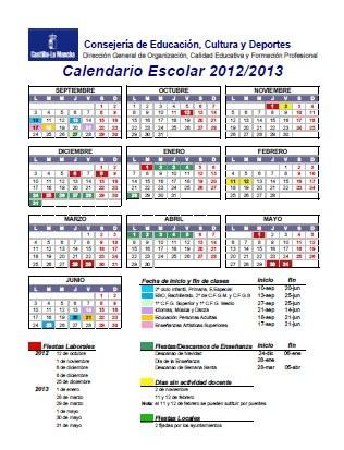 calendario escolar castilla la mancha 2012 13 23