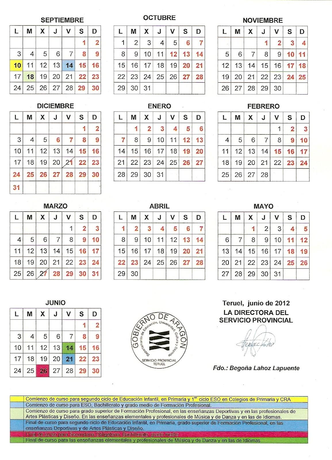 calendario escolar aragon 2012 13 20
