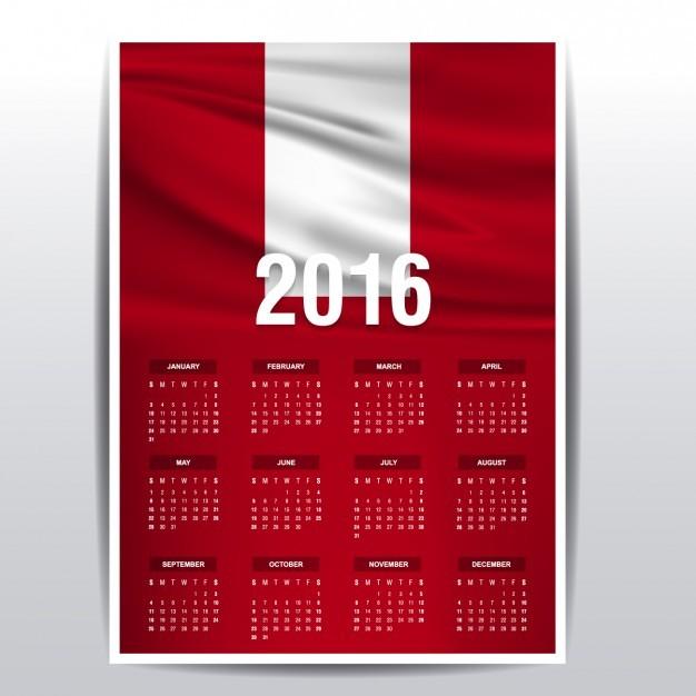 calendario de 2016 de la bandera de peru