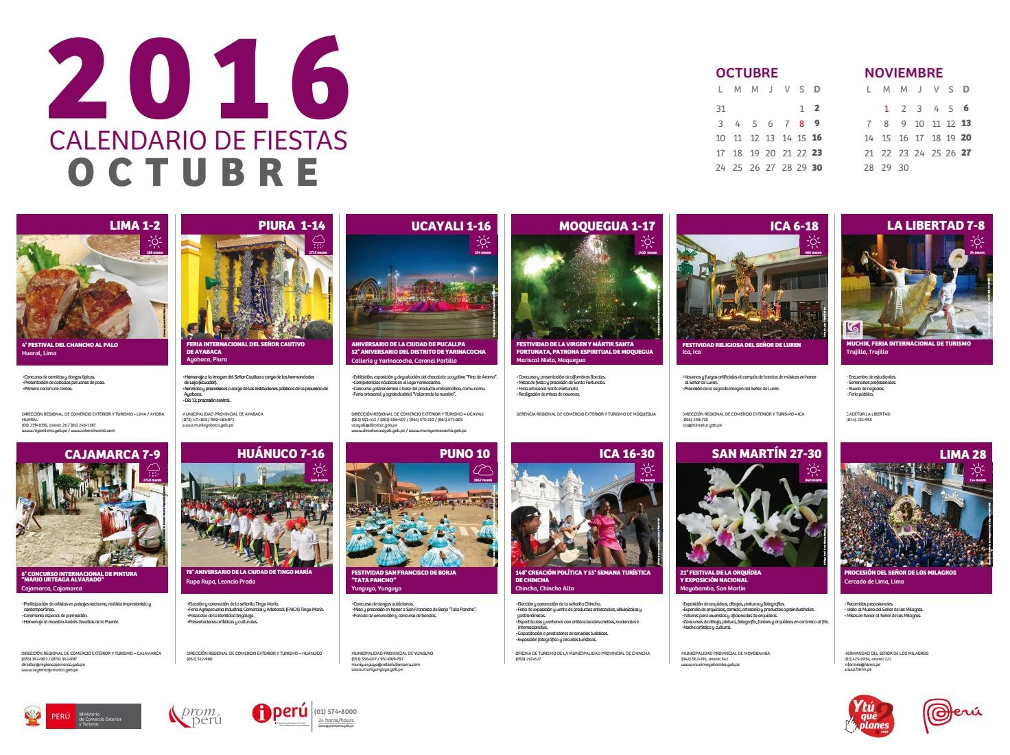 peru calendar octubre 2016