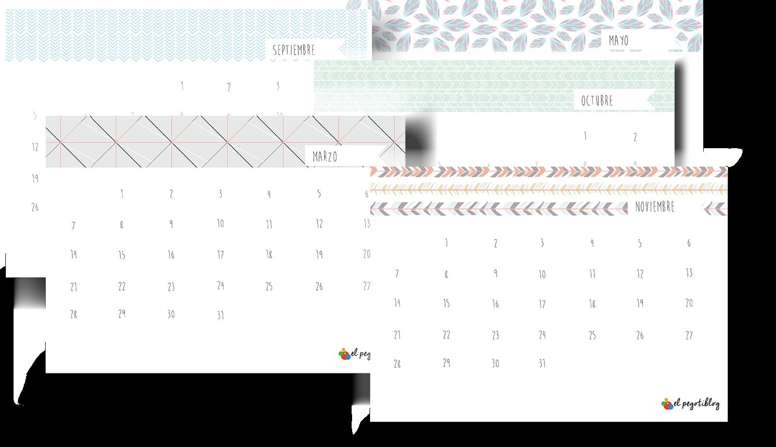 imprimible calendario 2016