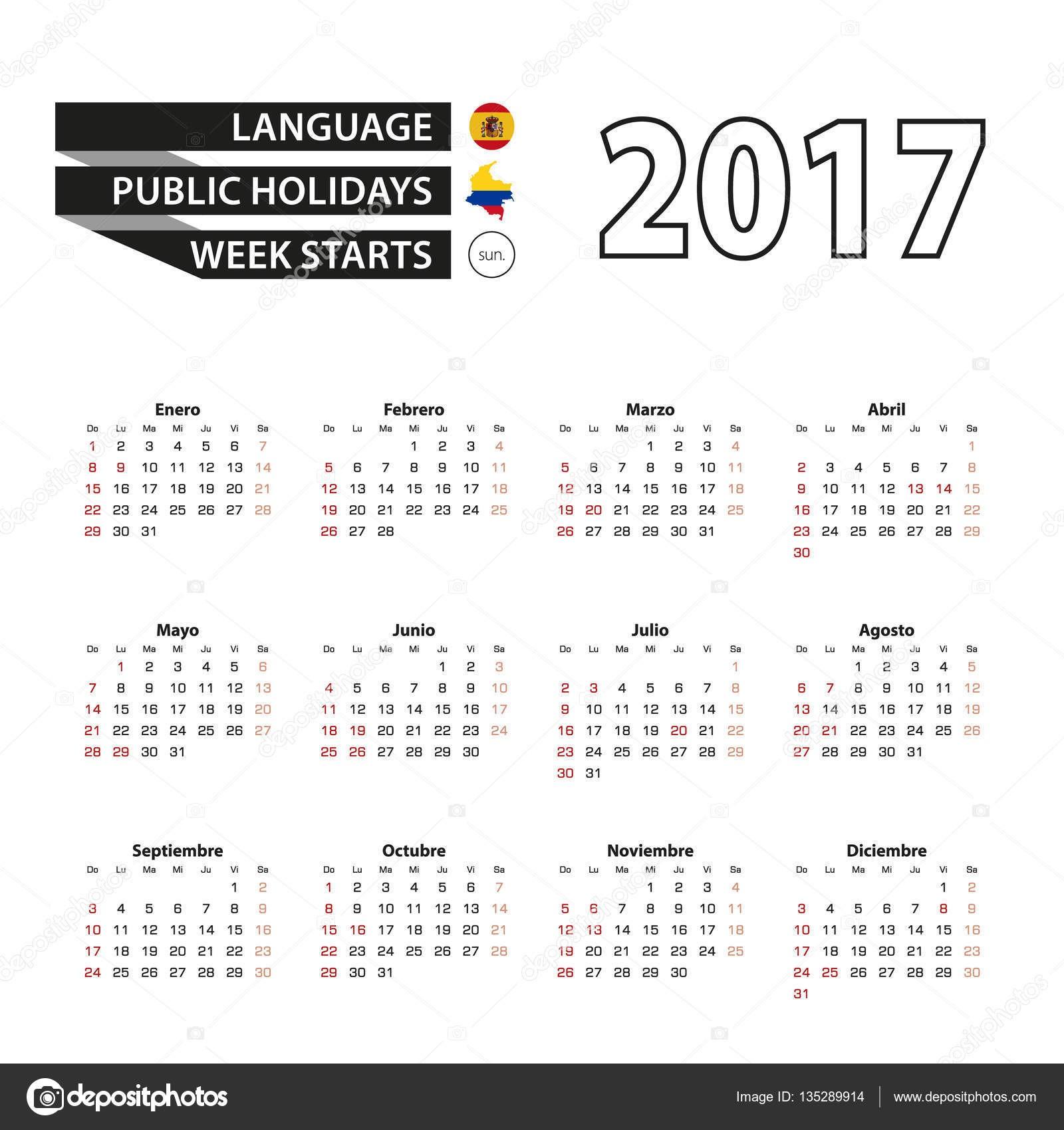 stock illustration calendar 2017 on spanish language