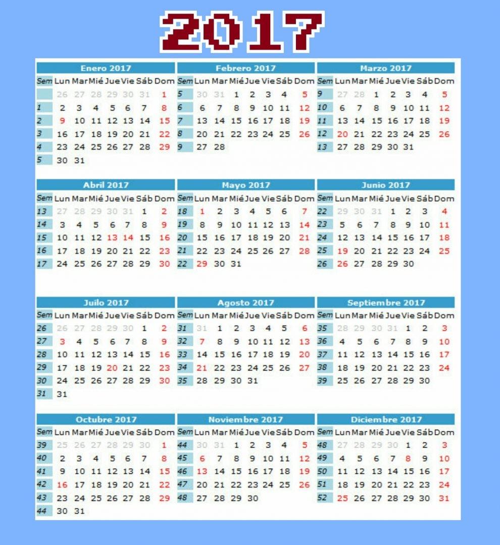 calendario y dias festivos en colombia 2017
