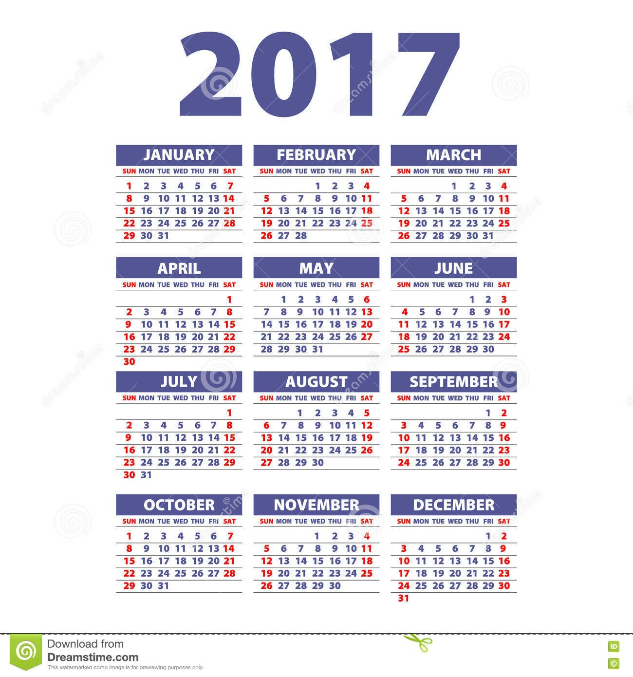 stock illustration calendar week starts sunday vector flat design template ready to print art image