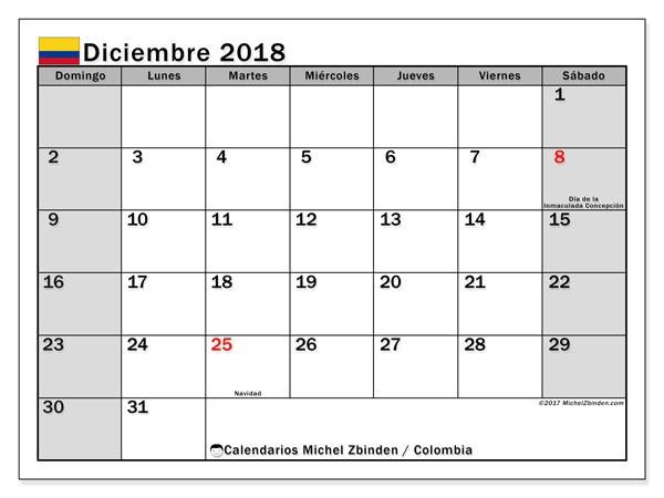 calendario diciembre 2018 colombia