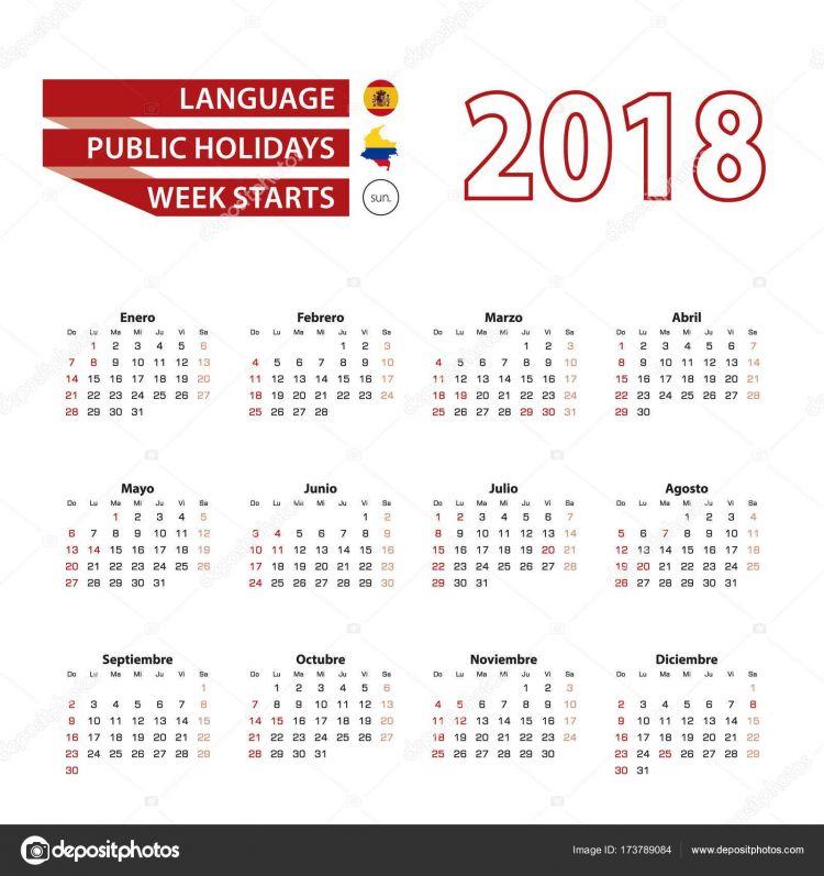 Calendario 2018 Con Festivos Colombia Más Actual Imágenes Calendario 2018 Colombia En Ingles