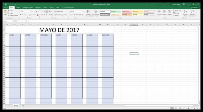 o hacer un calendario 2018 en Excel