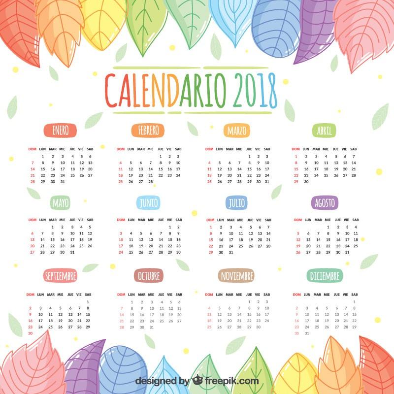calendario 2018 en espanol gratis