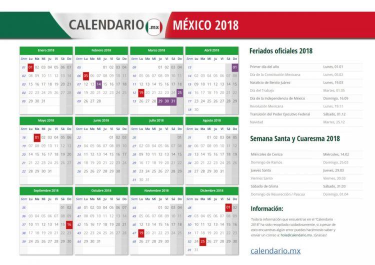 Calendario 2018 Mexico Pdf Mejores Y Más Novedosos Calendario 2018 MÉxico todos Los Feriados Y Festivos En