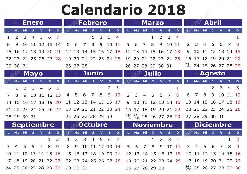stock illustration spanish calendar 2018 horizontal