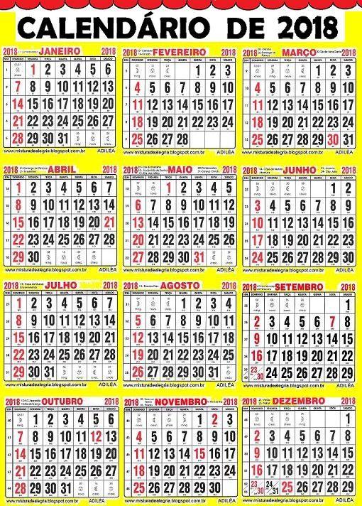 calendario grande 2018 para sala de