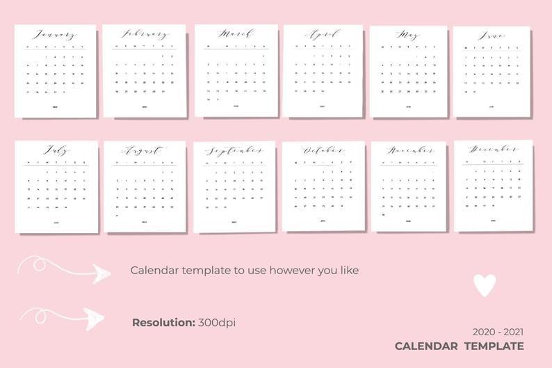 plantilla de calendario 2020 2021