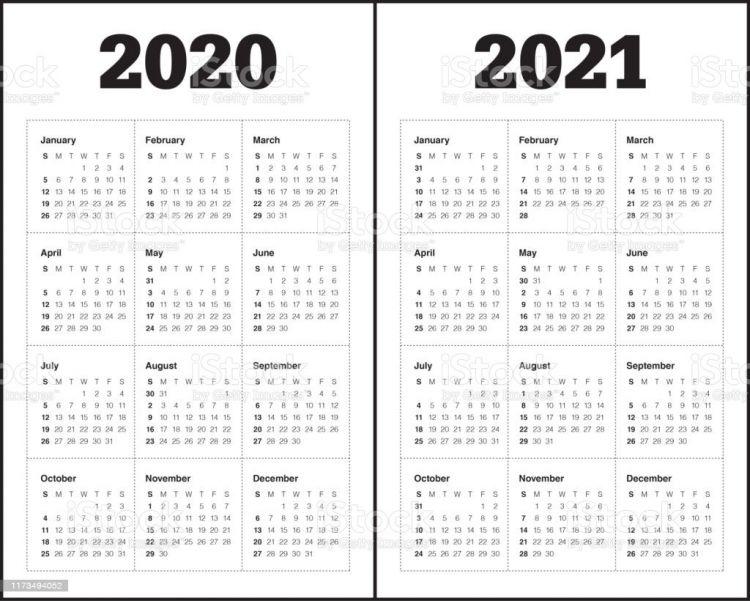 Calendario 2020 X 2021 Más Populares Year 2020 2021 Calendar Vector Design Template Stock