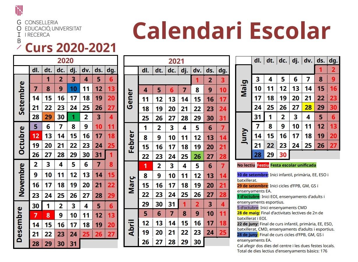 calendari escolar curs 2020 2021