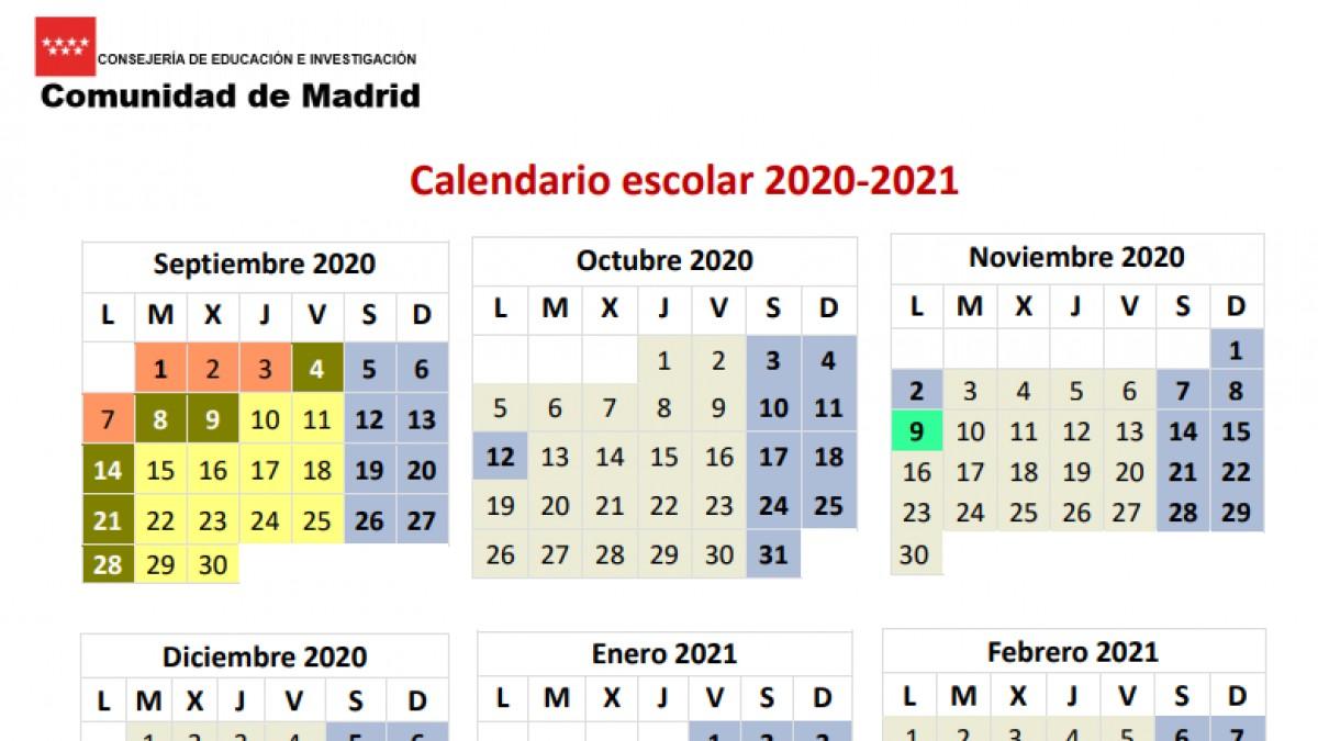 este es calendario escolar 2020 2021 unidad madrid