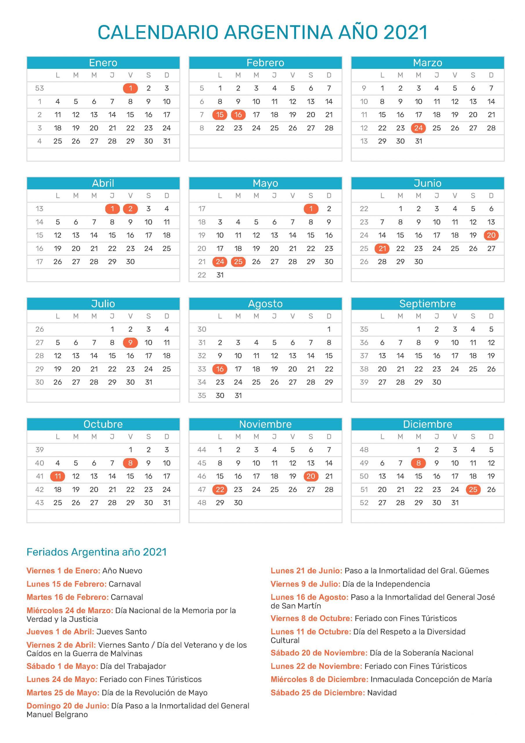calendario escolar 2021 argentina
