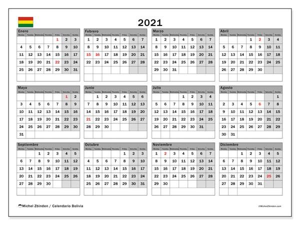 calendario 2021 bolivia