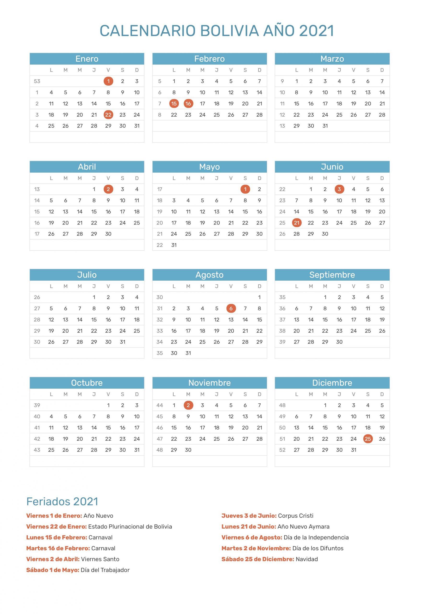 calendario bolivia 2021
