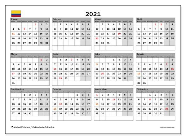 Calendario 2021 Colombia Con Festivos Más Populares Calendario 2021 Colombia Michel Zbinden Es