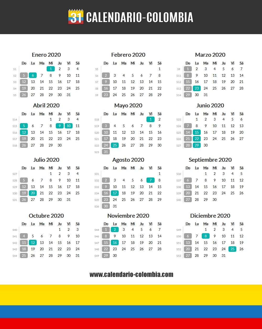 calendario 2020 y 2021 colombia con festivos