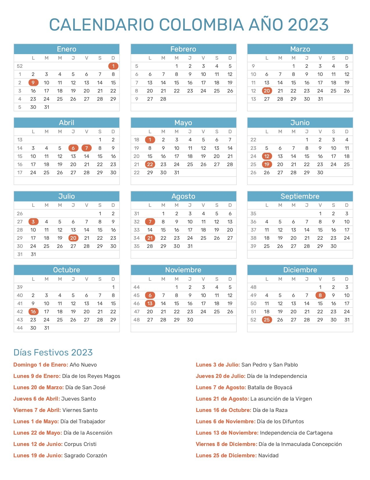 calendario colombia 2023