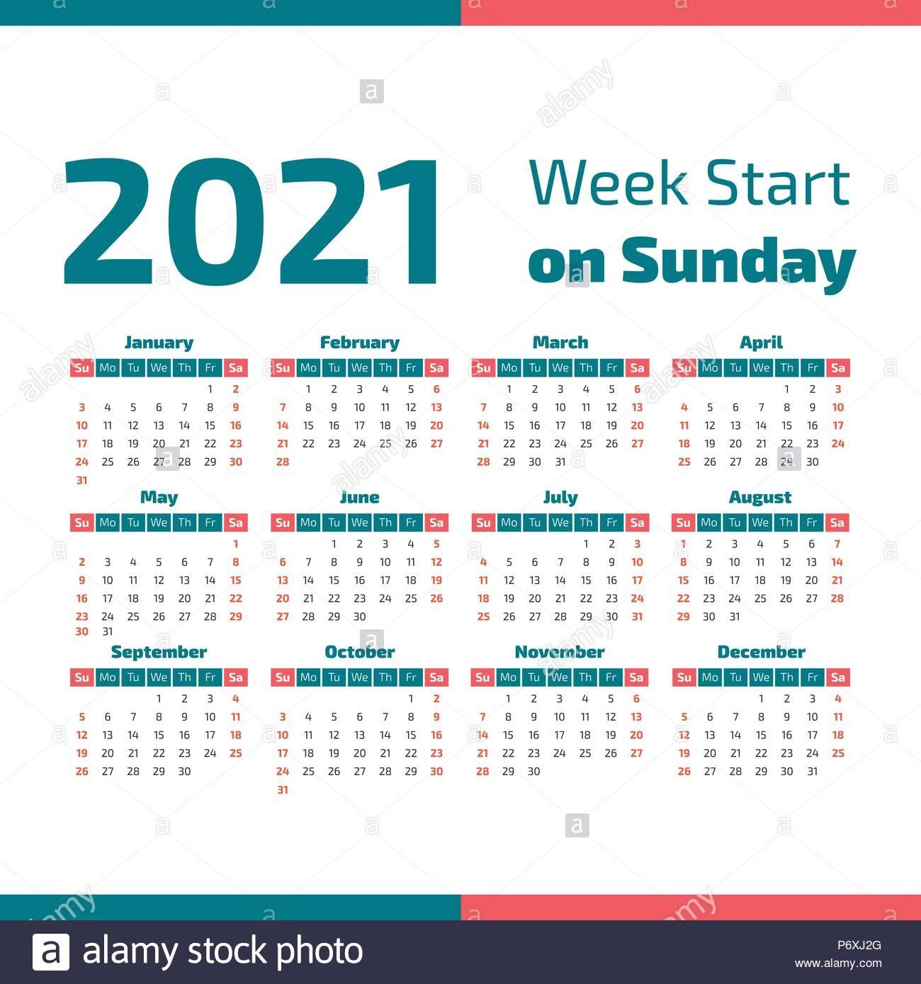 simple calendario del ano 2021 la semana ienza en domingo image