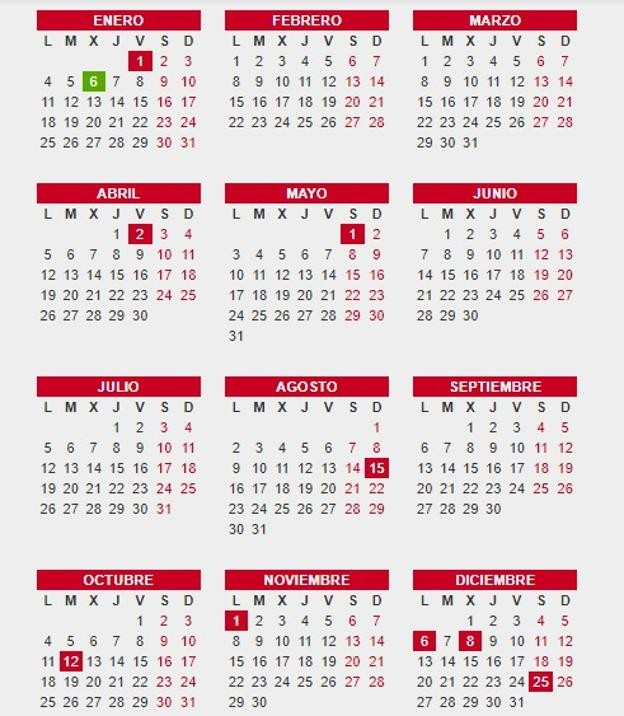 calendario laboral 2021 doces dias festivos nt