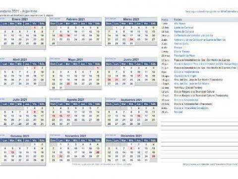 Calendario 2021 En Argentina Más Recientes Calendarios 2021 Para Estudiantes Descarga Gratis Pdf ⬇️