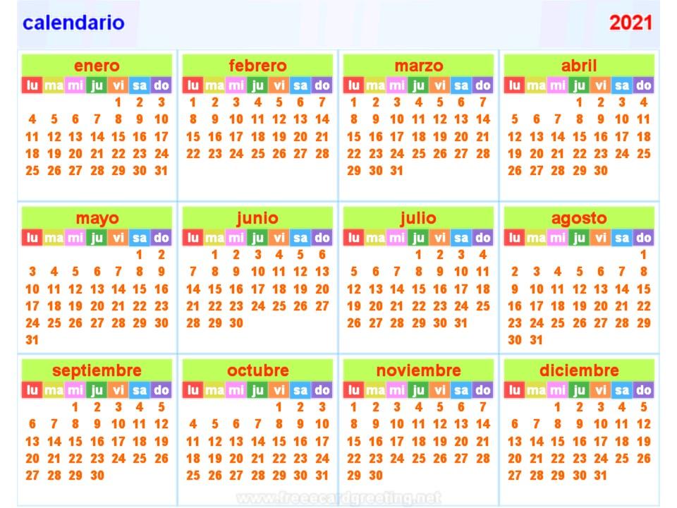 calendar 2021 spanish all